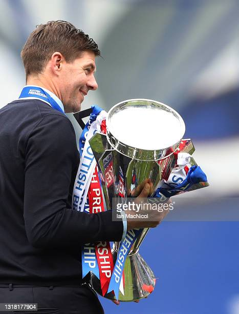 Rangers Manager Steven Gerrard is seen during the Scottish Premiership match between Rangers and Aberdeen on May 15, 2021 in Glasgow, Scotland....