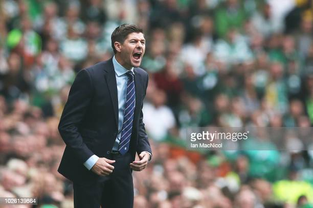 Rangers manager Steven Gerrard is seen during the Scottish Premier League between Celtic and Rangers at Celtic Park Stadium on September 2 2018 in...