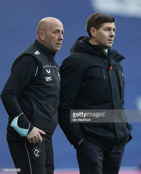 Rangers Manager Steven Gerrard is seen with Rangers Assistant manager Gary McAllister during the Ladbrokes Scottish Premiership match between Rangers...