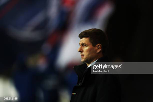 Rangers manager Steven Gerrard looks on during the Scottish Ladbrokes Premiership match between Rangers and Aberdeen at Ibrox Stadium on December 5...