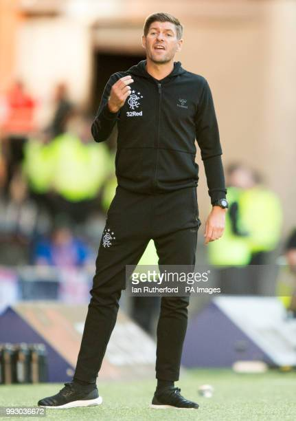 Rangers manager Steven Gerrard looks on from the touchline during a preseason friendly match at Ibrox Stadium Glasgow