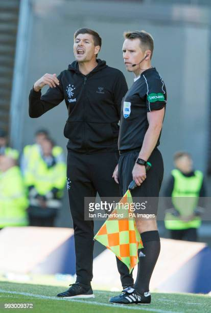 Rangers manager Steven Gerrard on the touchline during a preseason friendly match at Ibrox Stadium Glasgow