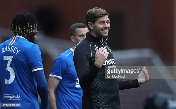 Rangers Manager Steven Gerrard reacts as he brings off Ianis Hagi during the pre season friendly match between Rangers and Coventry City at Ibrox...