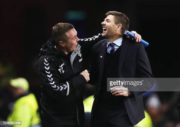 Rangers manager Steven Gerrard reacts at full time during the UEFA Europa League Group G match between Rangers and SK Rapid Wien at Ibrox Stadium on...