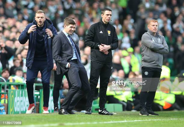 Rangers manager Steven Gerrard reacts during The Ladbrokes Scottish Premier League match between Celtic and Rangers at Celtic Park on March 31 2019...