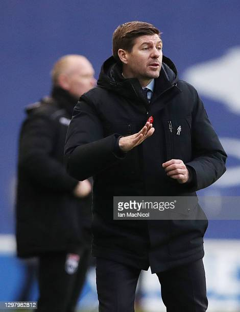 Rangers Manager Steven Gerrard reacts during the Ladbrokes Scottish Premiership match between Rangers Ross County at Ibrox Stadium on January 23,...
