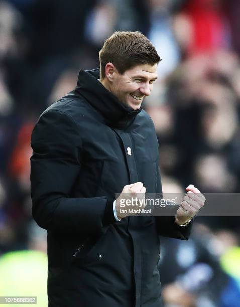 Rangers manager Steven Gerrard reacts during the Ladbrookes Scottish Premiership match between Rangers and Celtic at Ibrox Stadium on December 29...