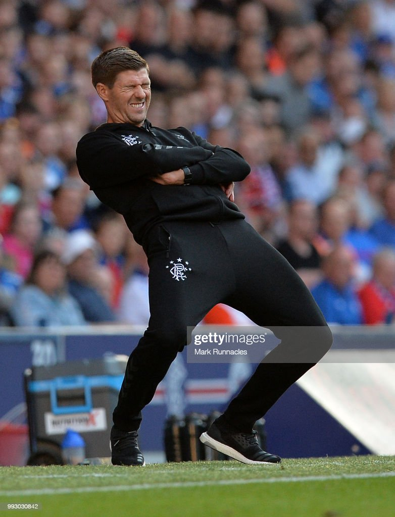Rangers manager Steven Gerrard reacts on the side line as he watches his team comfortably beat Bury 6-0 during the Pre-Season Friendly between Rangers and Bury at Ibrox Stadium on July 6, 2018 in Glasgow, Scotland.