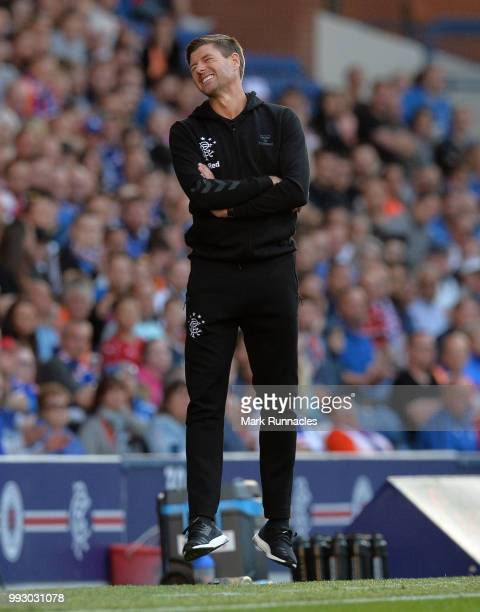 Rangers manager Steven Gerrard reacts on the side line as he watches his team comfortably beat Bury 60 during the PreSeason Friendly between Rangers...