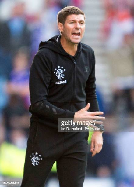 Rangers manager Steven Gerrard shouts instructions from the touchline during a preseason friendly match at Ibrox Stadium Glasgow