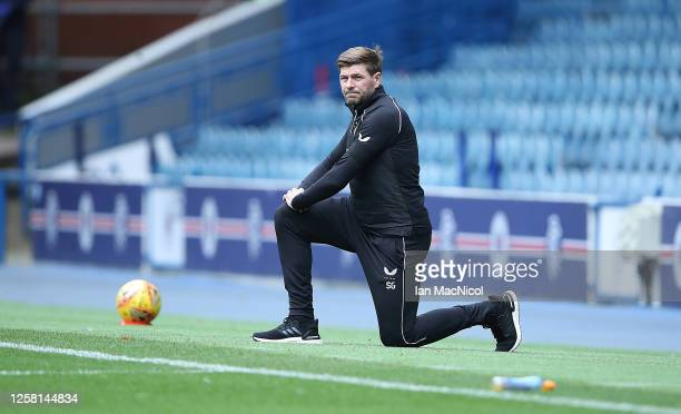 Rangers Manager Steven Gerrard takes the knee during the pre season friendly match between Rangers and Coventry City at Ibrox Stadium on July 25 2020...
