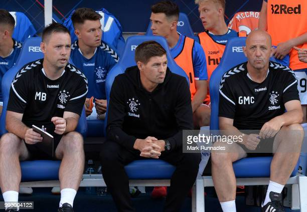 Rangers manager Steven Gerrard with assistant Gary McAllister in the dug out during the PreSeason Friendly between Rangers and Bury at Ibrox Stadium...
