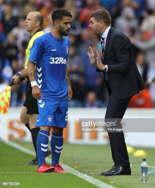 Rangers manager Steven Gerrard with Daniel Candeias during the Europa League Qualifying Round One First Leg match at Ibrox Glasgow