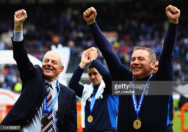 Rangers manager Walter Smith and Ally McCoist assistant manager celebrate after winning the Clydesdale Bank Premier League at Rugby Park on May 15...