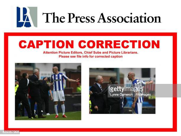 Rangers manager Walter Smith argues with Kilmarnock's Conor Sammon and is then sent to the stand after showing his frustration that Rangers Pedro...