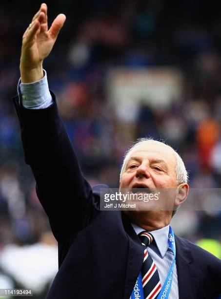 Rangers manager Walter Smith celebrates after winning the Clydesdale Bank Premier League at Rugby Park on May 15 2011 in Kilmarnock Scotland
