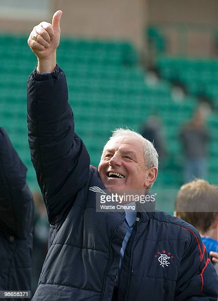 Rangers manager Walter Smith celebrates winning the league after the Clydesdale Bank Scottish Premier League match between Hibernian and Rangers at...