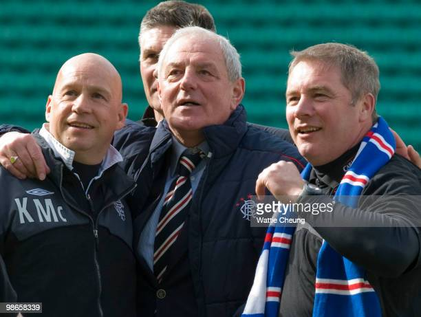 Rangers manager Walter Smith with assistant Ally McCoist and Kenny McDowall celebrate together after the Clydesdale Bank Scottish Premier League...
