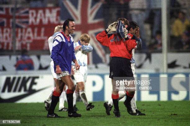 Rangers' Mark Hateley and goalkeeper Andy Goram celebrate after the match