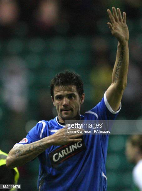 Rangers' Nacho Novo at the final whistle in the Clydesdale Bank Scottish Premier League match at Easter Road Stadium Edinburgh