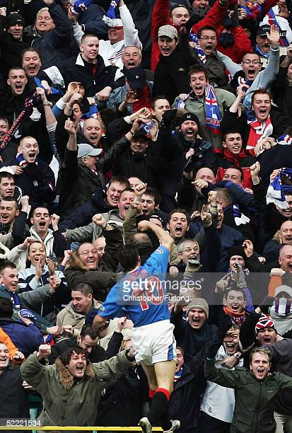 Rangers' Nacho Novo celebrates his goal during the Scottish Premier League match between Celtic and Glasgow Rangers on February 20 at Celtic Park...