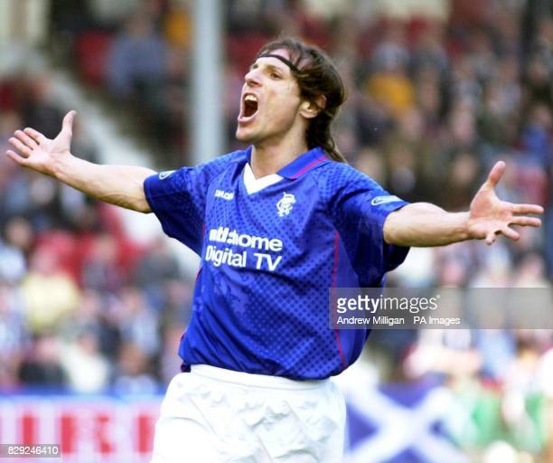 Rangers player Claudio Caniggia celebrating scoring Rangers first goal during theTennent's Cup 5th Round match between Dunfermline and Rangers...