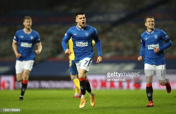 Rangers player Ianis Hagi celebrates after scoring the opening goal during the Ladbrokes Scottish Premiership match between Rangers and St Johnstone...