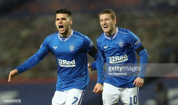 Rangers player Ianis Hagi celebrates with Steven Davis after scoring the opening goal during the Ladbrokes Scottish Premiership match between Rangers...