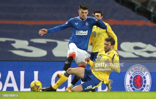 Rangers player Ianis Hagi challenges Murray Davidson of St Johnstone during the Ladbrokes Scottish Premiership match between Rangers and St Johnstone...