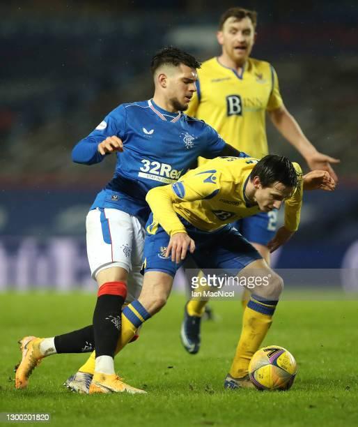 Rangers player Ianis Hagi challenges St Johnstone player Scott Tanser during the Ladbrokes Scottish Premiership match between Rangers and St...