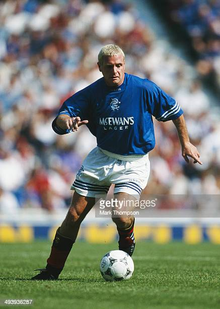 Rangers player Paul Gascoigne in action during a pre season friendly match between Rangers and Sampdoria at Ibrox on July 30 1995 in Glasgow Scotland