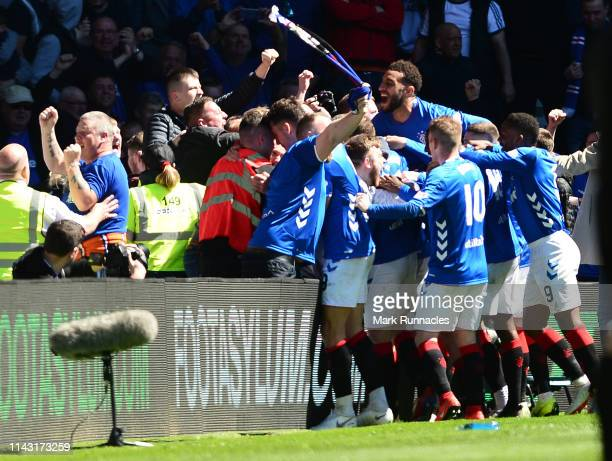 Rangers players celebrate their second goal with the crowd during the Ladbrokes Scottish Premiership match between Rangers and Celtic at Ibrox...