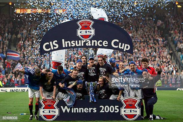 Rangers players celebrate winning the Scottish CIS Insurance Cup Cup Final match between Rangers and Motherwell on March 20 at Hampden Park, Glasgow,...