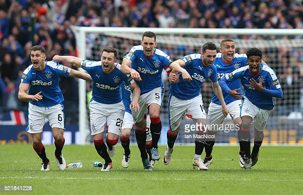 Rangers players celebrates after winning the penalty shoot out during the Scottish Cup Semi Final between Rangers and Celtic at Hampden Park on April...