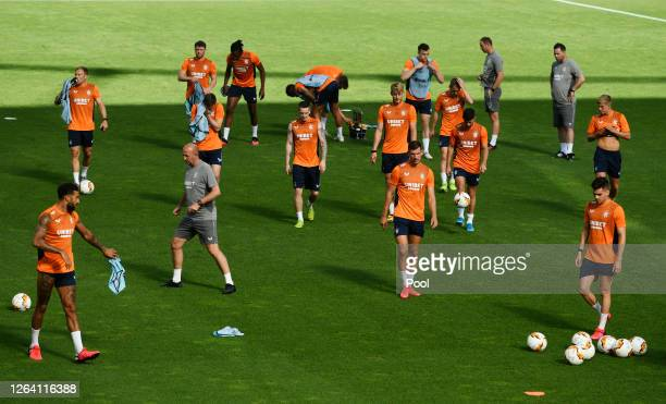 Rangers players in action during a Rangers Training Session And Press Conference at BayArena on August 05 2020 in Leverkusen Germany
