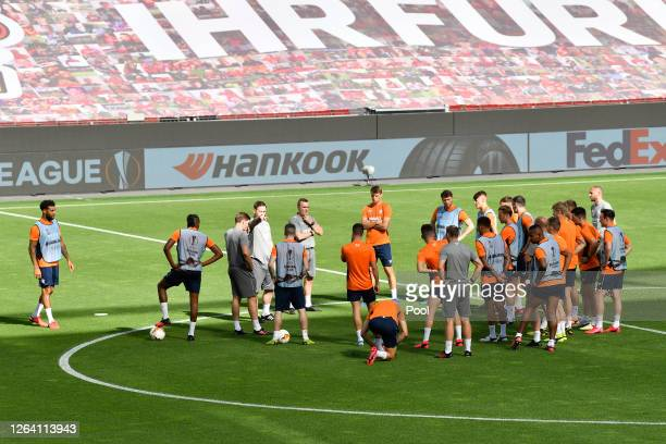 Rangers players in conversation during a Rangers Training Session And Press Conference at BayArena on August 05 2020 in Leverkusen Germany