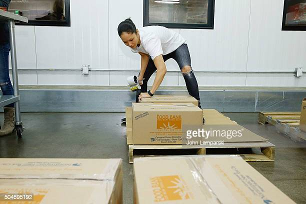 Rangers player's wife Emily Glass attends 2016 Henrik Lundqvist Foundation Food Bank For New York City Repack Day Challenge at Food Bank for New York...