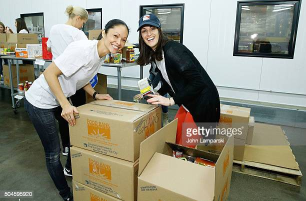 Rangers players wives Emily Glass and Kirsten Lindell attend 2016 Henrik Lundqvist Foundation Food Bank For New York City Repack Day Challenge at...