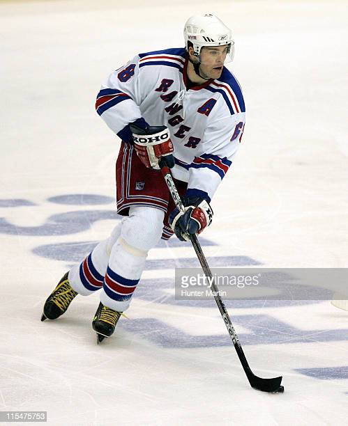 Rangers right winger Jaromir Jagr carries the puck up ice at the Wachovia Center in Philadelphia Pa on Saturday February 4th 2006