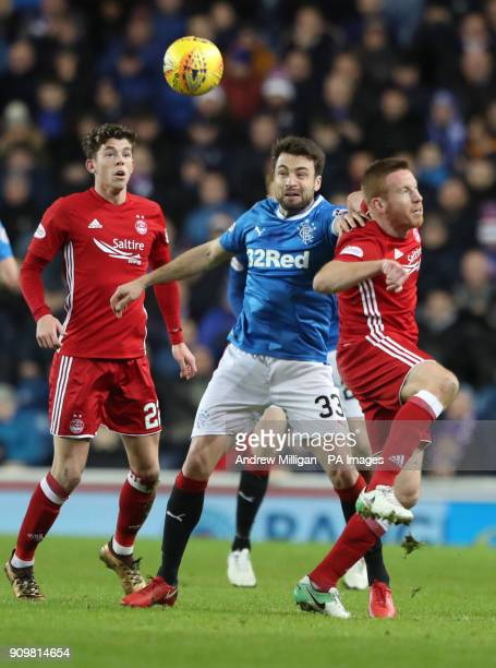 Rangers' Russell Martin and Aberdeen's Adam Rooney battle for the ball during the Ladbrokes Premiership match at Ibrox Glasgow