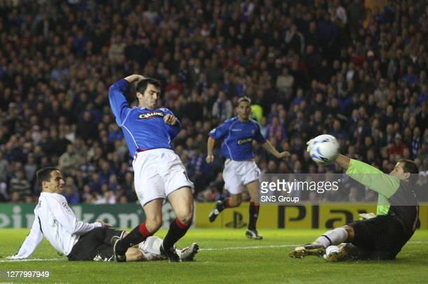 Rangers' Steven Thompson is unlucky as he is tackled just before getting on the end of a cross at Ibrox, as Rangers draw 0-0 with Bratislava