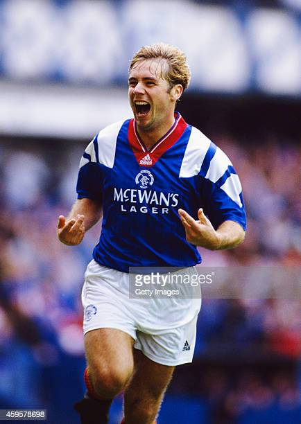 Rangers striker Ally McCoist celebrates after scoring the second goal in a 3-1 win against Aberdeen at Ibrox on August 29, 1992 in Glasgow, Scotland.