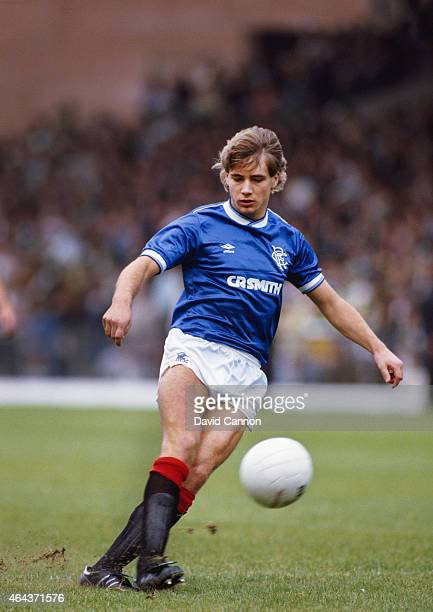 Rangers striker Ally McCoist in action during an Old Firm game at Celtic Park on August 31 1985 in Glasgow Scotland