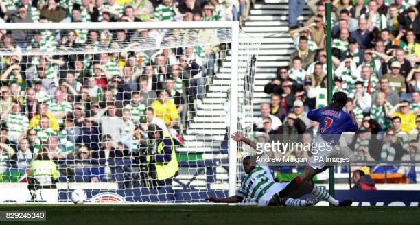 Rangers striker Claudio Caniggia scores the opening goal against Celtic during the CIS Insurance Cup final match at Hampden Park Glasgow Rangers...