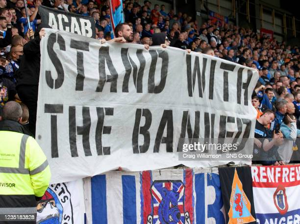 Rangers' supporters display during a cinch Premiership match between St Johnstone and Rangers at McDiarmid Park on September 11 in Perth, Scotland