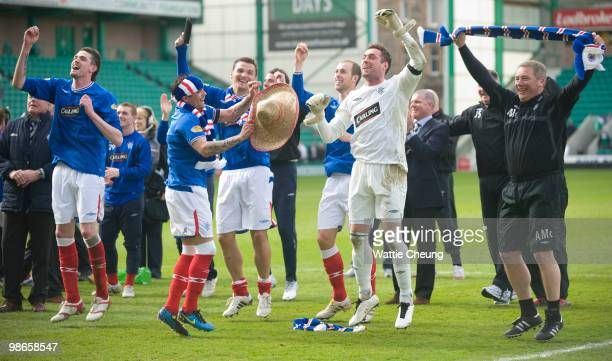 Rangers team celebrates winning the league after the Clydesdale Bank Scottish Premier League match between Hibernian and Rangers at Easter Road on...