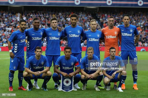 Rangers team during the Europa League Qualifying Round One First Leg match at Ibrox Glasgow