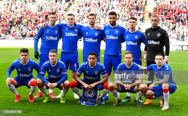 Rangers Team Picture during the Europa League Round of 32 2nd Leg match between SC Braga and Rangers at Estadio Municipal de Braga on February 26...