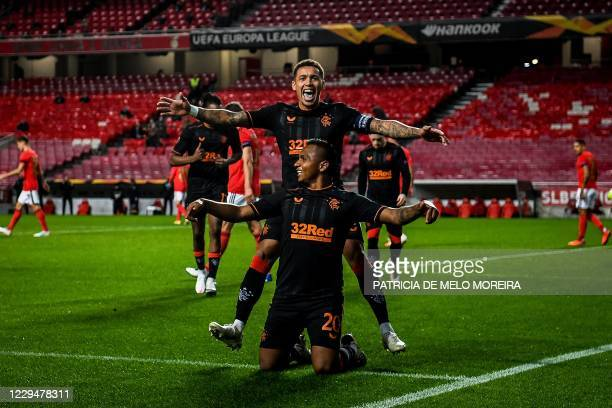 Rangers's Colombian forward Alfredo Morelo celebrates with teammates after scoring a goal during the UEFA Europa League group D football match...