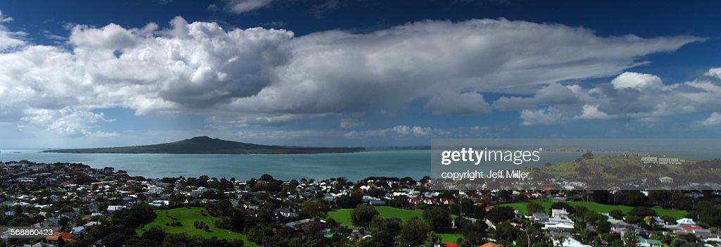 Rangitoto Island from Mt Victoria, Auckland : Stock Photo